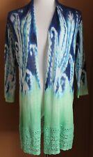 CHICO'S Blue Green Ikat Paisley Cardigan Sweater Kristyn 1 NWT 3/4 Sleeves M 8