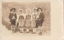 Rppc Postcard Men + Women German? Ethnic Costumes
