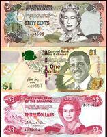 Bahamas 1974-2008 > 1/2, 1, 3 Dollars, Banknote set of 3 UNC