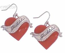 Guess Silver Heart Earrings Red UBE81111 Valentines Day Gift Jewelry