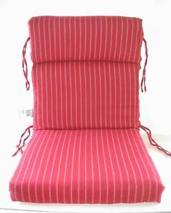 100% Acrylic Patio Chair Cushion ~ Red Ticking Stripe ~ 21.5 x 44 x 4 NEW