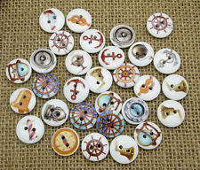 Lot of 10 NAUTICAL / BOAT 2-hole Wood Buttons 5/8