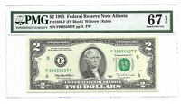 1995 $2 ATLANTA FRN, PMG SUPERB GEM UNCIRCULATED 67 EPQ BANKNOTE, RARE F/F BLOCK