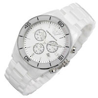 100% New Emporio Armani AR1424 White Ceramic Chronograph 43mm Mens Gents Watch