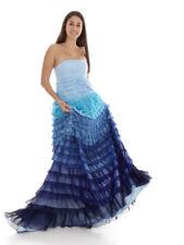 Richard Kravetz Kleid Abendkleid Faltenkleid blau Bandeau Zipper