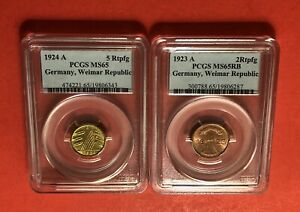 GERMANY-2 COINS (1923A & 1924A)2&5 RENTENPFENNIG COINS,GRADED BY PCGS-MS65.