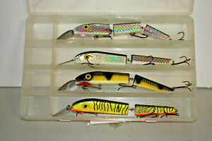 """4 ea 10"""" Jointed Trolling Deep Diving Lure Muskie Musky Pike With Tackle Box"""
