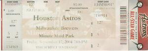 2004 Houston Astros vs Milwaukee Brewers Ticket Stub  September 17