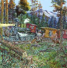 Lowell Davis Dalton Gang Train Holdup Border Terrier - 20 x 20 Giclee Canvas