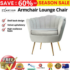Artiss Armchair Lounge Chair Accent Armchairs Retro Single Sofa Velvet Grey