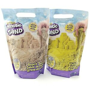 Kinetic Sand Lot of 2 - 2 Lb Bags Beach Sand and Yellow