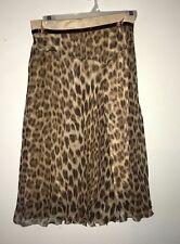 Blumarine Women's Cheetah Leopard Animal Printed Patterned Silk Ruffle Hem Skirt