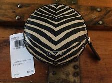 Coach Zebra Print Small Wristlet Wallet Coin Key  F68668 Black/Tan