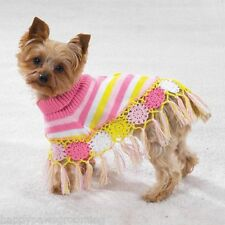 Casual Canine Dog CROCHETED Knit SHAWL Pink&Yellow Poncho Sweater Coat *XS