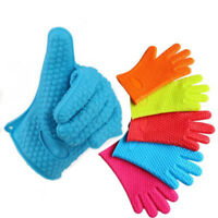 Silicone Oven Gloves Heat Proof Resistant Kitchen BBQ Cooking Mitts Pot Holder