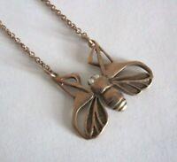 Schöne Jugendstil Kette 925 Silber vergoldet Insekt mit Opalaugen