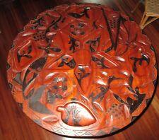 Large Black Mahogany Obsidian Gem Stone Carved Chess Ornate Wood Table Set Tiki!
