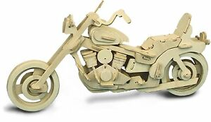 American Motorcycle: Woodcraft Quay Construction Wooden 3D Model Kit P019 Age 7