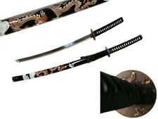 "Samurai Sword 40"" Black/Gold DRAGON Design Carbon Steel Collectible Katana Ninja"