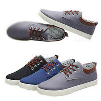 Fashion  Casual Men boat Canvas Shoes Flat Loafer Lace Up Low-Top Board Sneakers