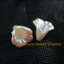 15 New Charms Acrylic Plastic Flower Horn Spacer End Bead Caps White 13.5x14.5mm