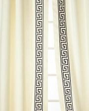 "100% linen drapes with 4"" greek key embr tape Felix (pair),"