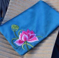 Satin Commerce équitable zippée porte-monnaie Bright Bleu Sarcelle Floral Doublé éthique Cadeau
