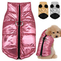 Waterproof Puffy Jacket for Small Dogs Quilted Dog Warm Coat Clothes Gold Pink