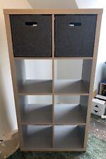 Ikea Kallax Shelving Unit Grey Wood Effect 147 x 77 x 39 Storage Boxes Inc