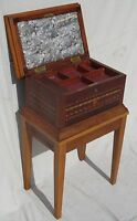 EXCELLENT LARGE 19TH CENTURY INLAID ANTIQUE JEWELRY CHEST ON FRAME