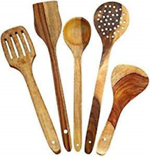 Set of 5 Handmade Wooden Spoons Cooking & Serving Home Kitchen Tools utensil NEW