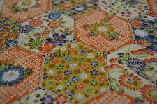 Japanese Silk Fabric Multicoloured Floral Honey 1381