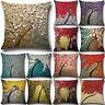 NT Flower Tree Linen Pillow Case Waist Back Throw Cushion Cover Home Sofa Decor