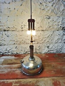 Vintage Leacock Coleman Fuel Table Hanging Lamp Model 107 Off Grid Tested Works