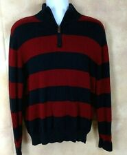 Sebastian Cooper Mens Sweater Sz L Blue Red Cotton Cashmere 1/4 Zip LS Stripe