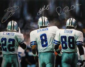 Autographed Dallas Cowboys Triplets 16x20 Photo- Beckett *Silver