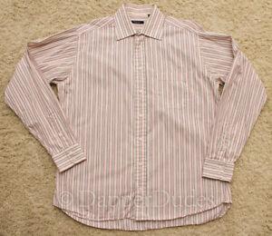 Mint! BURBERRY London Dress Shirt-Men's L-Pink Stripes-Made in USA