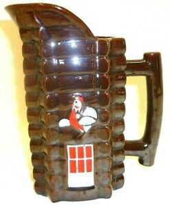 Vintage Brown Luster Pottery Rooster Cabin Door Batter Pitcher Country Kitchen