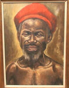 BELGIAN CONGO ZAIRE ORIGINAL OIL ON CANVAS AFRICAN MAN PAINTING SIGNED