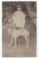 BM768 Carte Photo vintage card RPPC Animaux chapeau hat chien dog