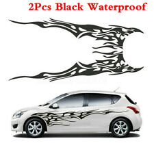 Custom Flame Racing Car Body Stickers Side Stripes Vinyl Graphic Decals 210cm x2