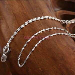 Genuine Solid 925 Sterling Silver 1.0mm Starry Silver Chain Necklace Italy Gift