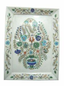 """12"""" X 9"""" Marble tray Inlay Pietra Dura semi precious stone Handmade home decor"""