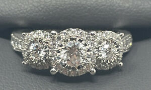 10K White Gold Wedding Ring 1 CTTW Lab Diamonds Color I Clarity SI2 Size 7.5