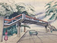Mid Century Modern Architectural Watercolor rendering signed Concept Art
