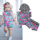 2Pcs Infant Toddler Kids Baby Girls Clothes T-shirt Hooded Top+Pants Outfit Set