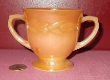 Vintage FIRE KING Peach Luster Ware SUGAR BOWL Leaf Rim ^
