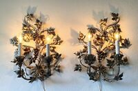 2 Italian Gilt Tole Grape Cluster Sconces Hollywood Regency Lamp Wall Lights