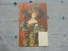 Victorian Lovely Lady w/ fan Parisiane Early Undivided back unused no writing