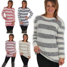 Sexy Damen Kuschel Pullover Streifen Pulli kuschelig Sweater Weich langarm